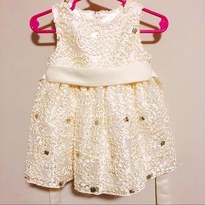 Gold holiday dress - ribbon and sequins! 12 mo.
